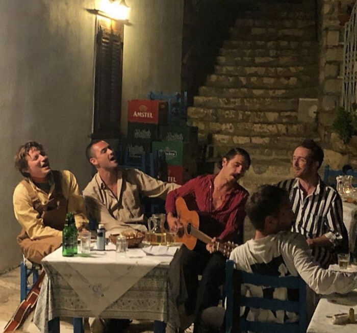 These Musicians In A Restaurant In Greece