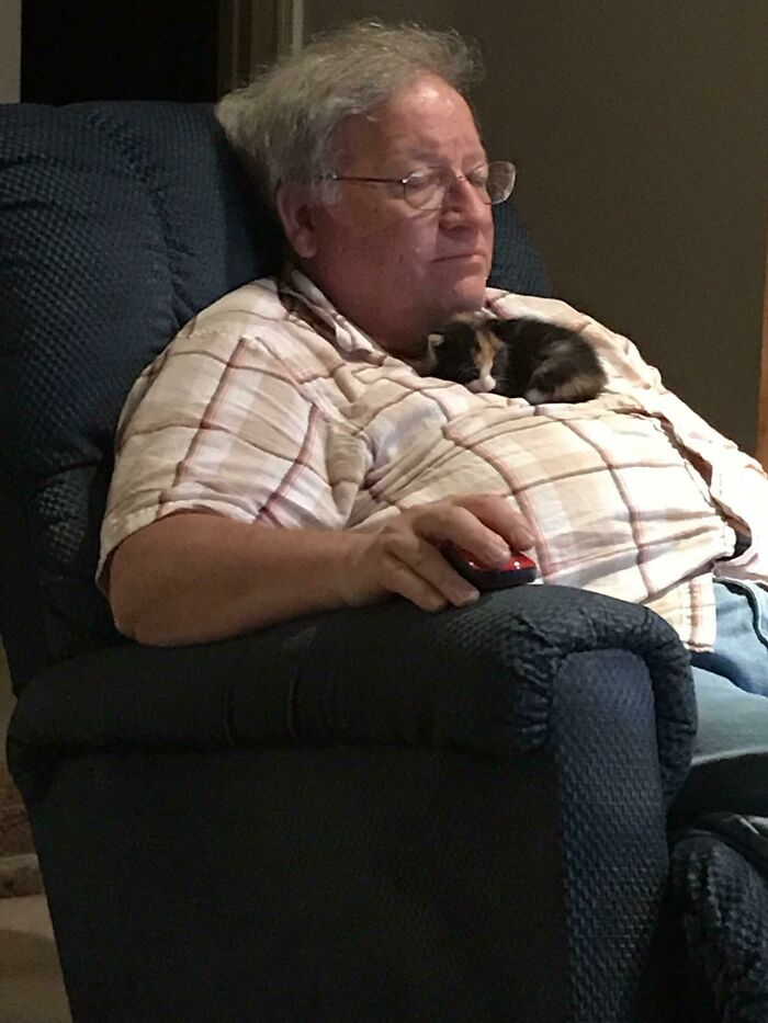 My Dad Has Never Had A Cat But Loves Mine. He Found A Kitten Crying Outside A Couple Days Ago Who Prefers Sleeping Like This