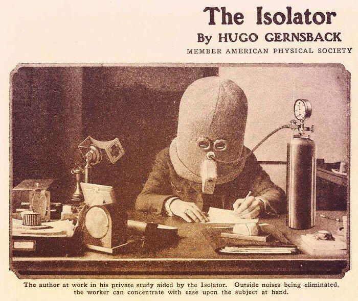 El Aislador: un casco para aislar los sentidos y no distraerse. 1925
