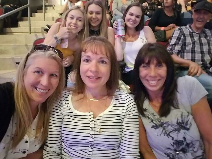 This Is My Mother (On The Left) And Her Friends At A Concert And It Appears That They Time Traveled And Photobombed Themselves