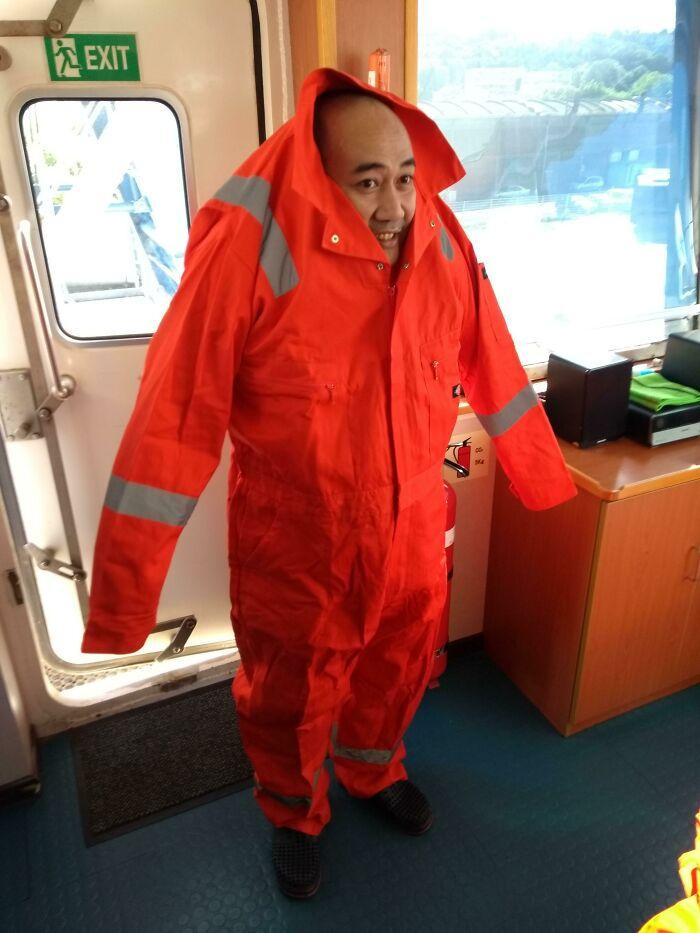 With The Current Trend Of Others Wearing Tall People's Clothes, Here's My Former Colleague From The Philippines In My Coveralls