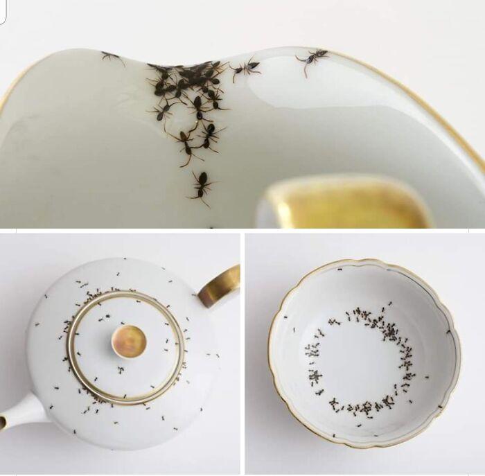 Porcelana con hormigas pintadas a mano