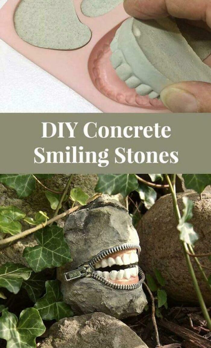 Piedras sonrientes de cemento