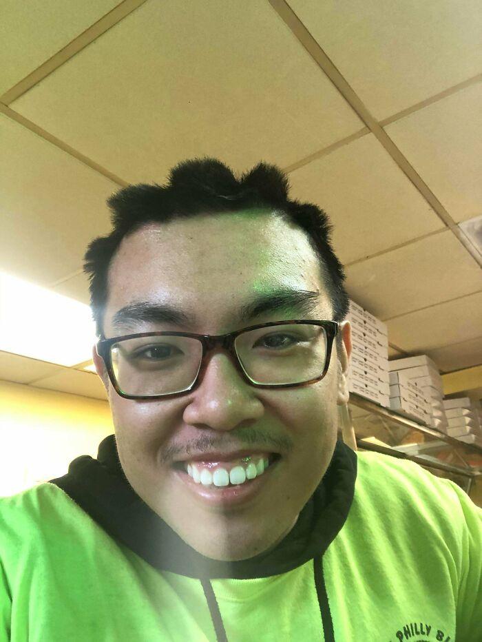 Straight Hair + Bike Helmet = Asian Cornrows
