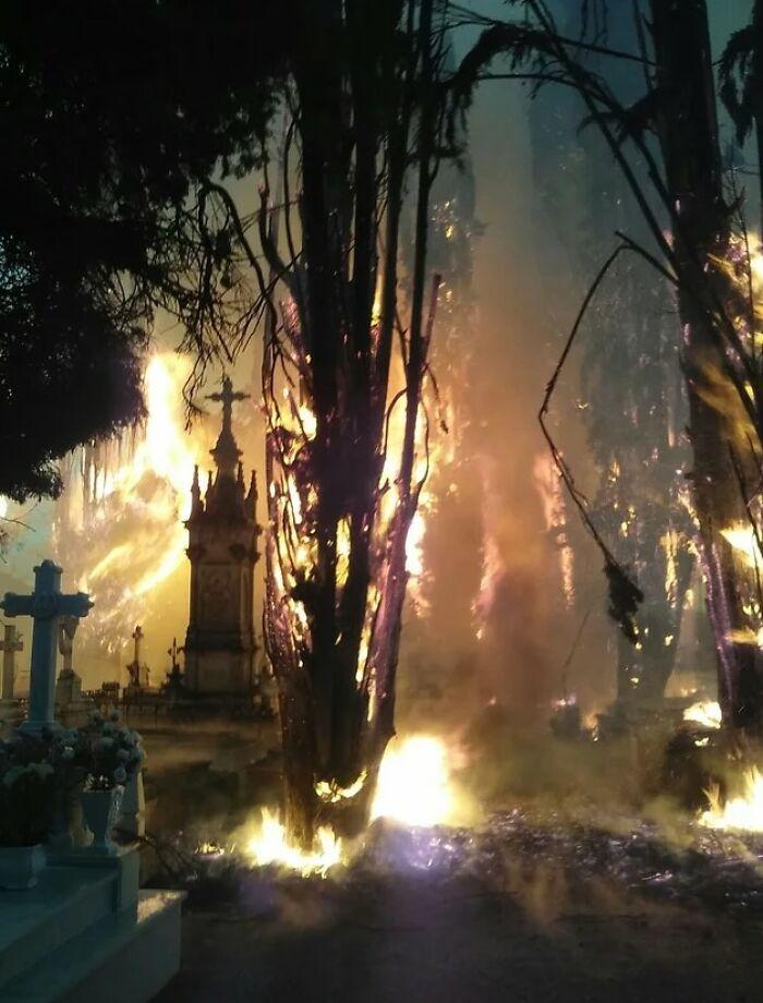 Incendio en un cementerio que parece una película de terror