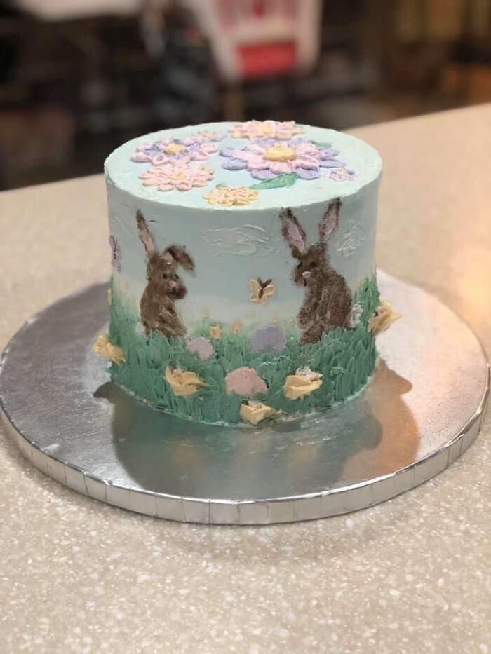 One Of My Favorite Cakes I Did, I Painted This Scene On With Buttercream And A Palette Knife