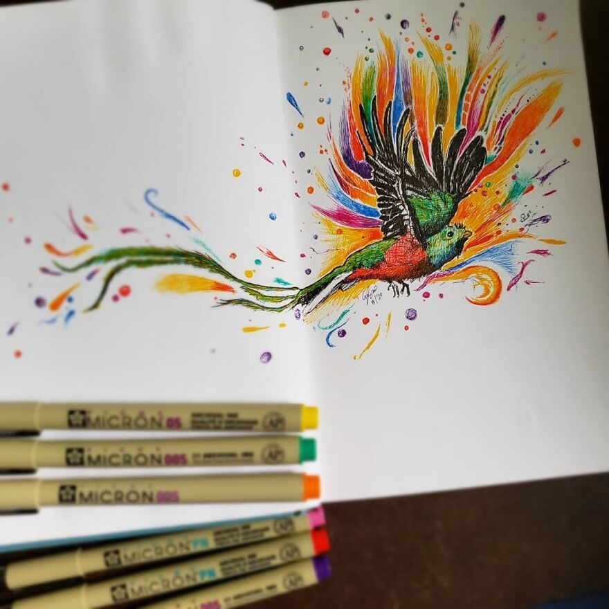 Something A Little Different. I Don't Usually Use So Much Color In My Pen Drawings