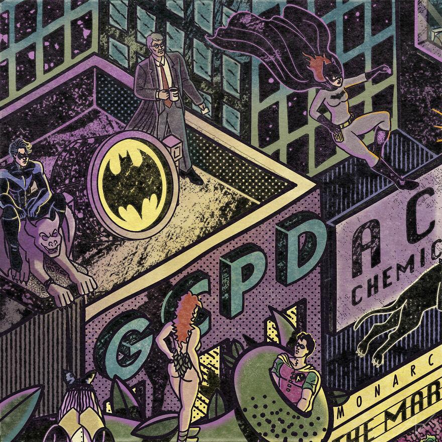 My Digital Illustration Of Batman's Gotham City That's Full Of Easter Eggs