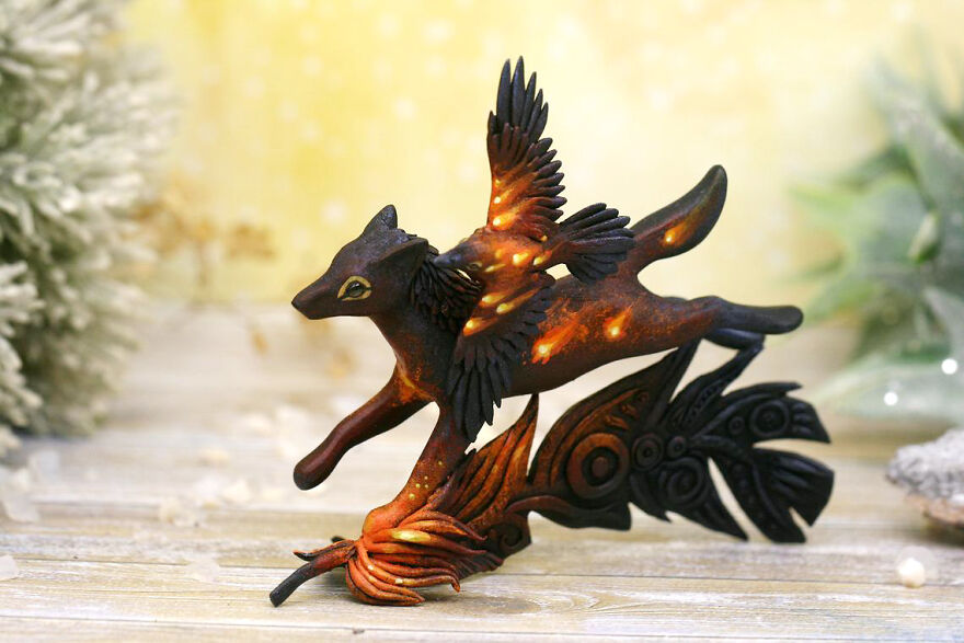 Running Wolf With Raven