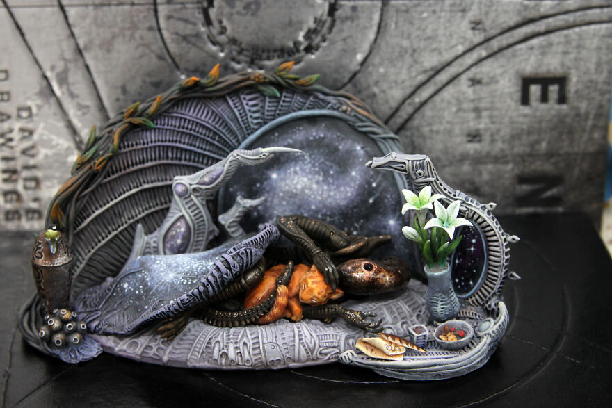 """Composition With Alien And Cat """"My Hearth."""""""
