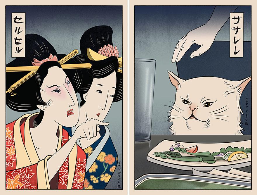 Woman Yelling At Cat—Ukiyo-e Style