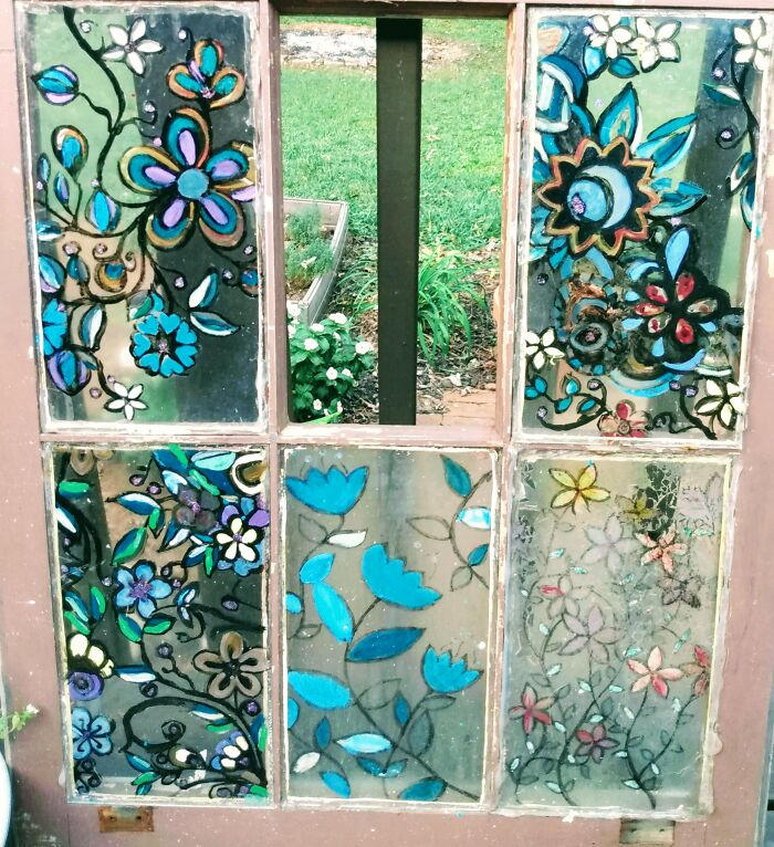 My Painted Window ( Even Though A Piece Broke And Is Missing). It's A Work In Progress.