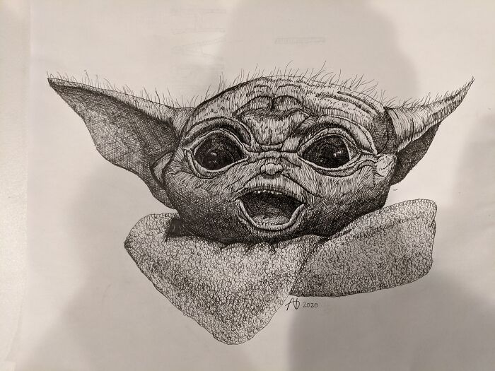 I Had Fun Drawing Baby Yoda In Pen For My Mom's Birthday! Out Of All My Drawings, I Enjoyed This One The Most. (I Am 13)
