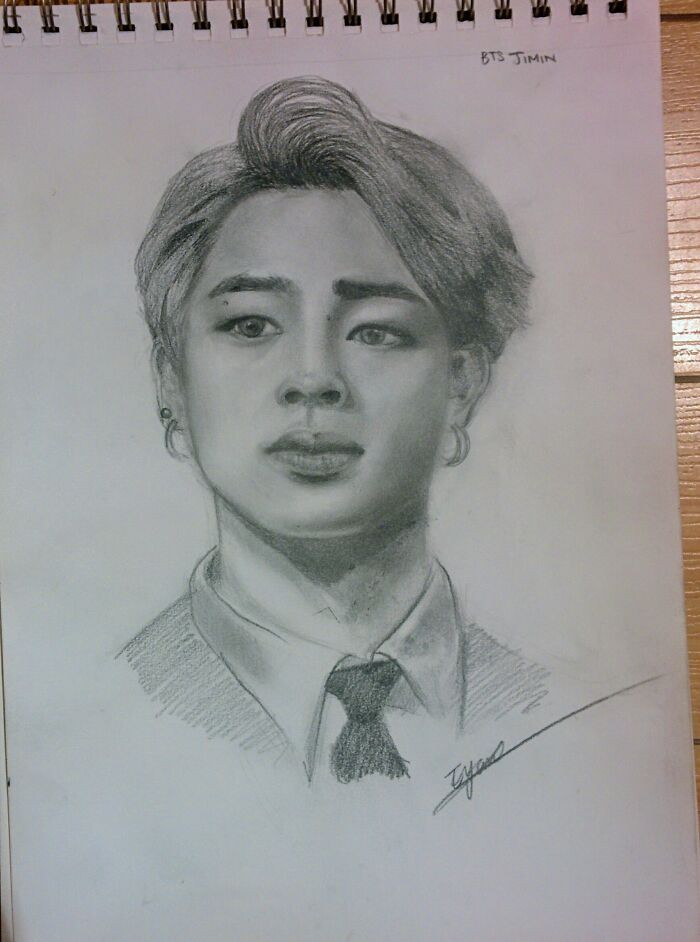 Not My Best Ever Drawing - But I Really Like It. This Is Jimin From Bts And I Drew This When I Was 12