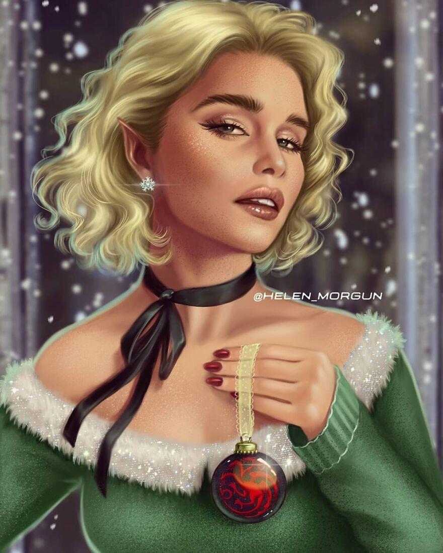 Emilia Clarke As Christmas Elf