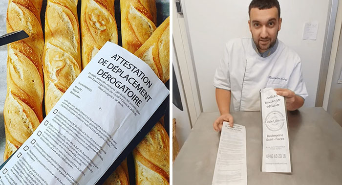 To Help People Who Are Not Able To Print Out A Exceptional Certificate, French Baker Starts Printing Them On His Baguette Bags