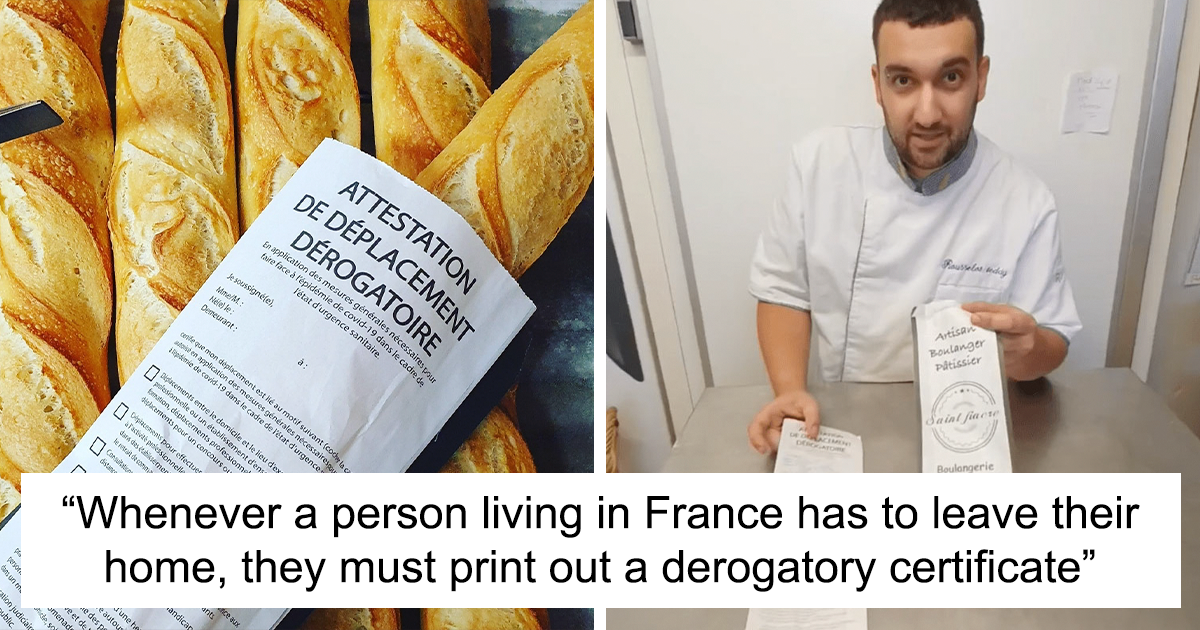 """""""Elderly People Don't Have A Printer Or Can't Download It"""": After France Introduces Derogatory Certificates To Curb The COVID-19 Epidemic, Baker Starts Printing Them On His Baguette Bags"""