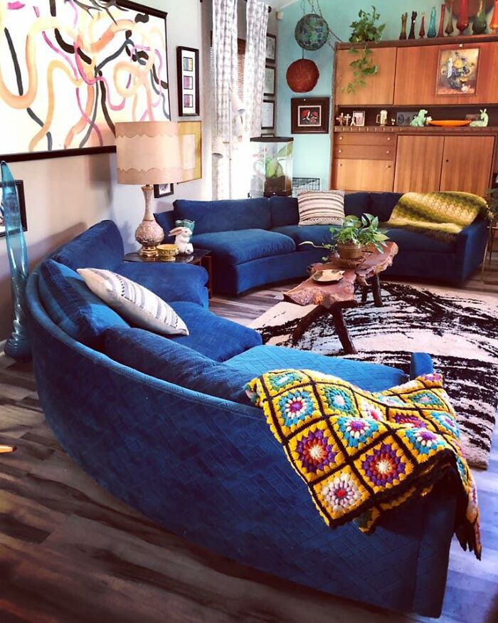 My Teenage Daughter Was Walking Through A Thrift Store When This Great Curved Mid Century Blue Couch Came In The Door