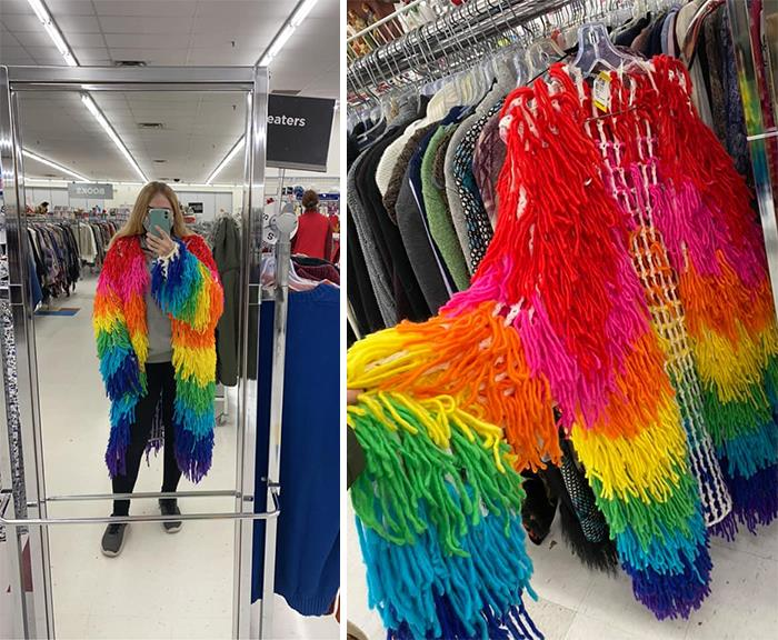 The Yarn Vest Of Rainbow Dreams! Found At Value Village For $10 In Ontario, Canada. The Endless Possibilities Of Future Halloween Costumes Made It Come Home With Me