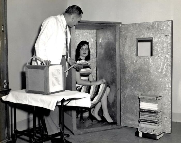 "Orgone Accumulator, A Device Sold In The 1950s To Allow A Person Sitting Inside To Attract Orgone, A Massless 'Healing Energy'. The Fda Noted That One Purchaser, A College Professor, Knew It Was ""Phony"" But Found It ""Helpful Because His Wife Sat Quietly In It For Four Hours Every Day."""