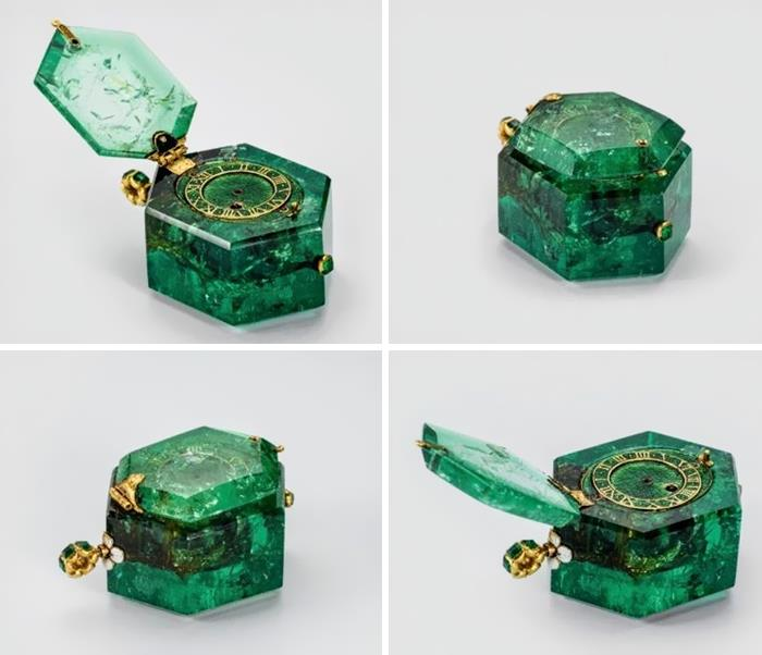 Reloj de bolsillo de hace 350 años tallado en una sola esmeralda colombiana