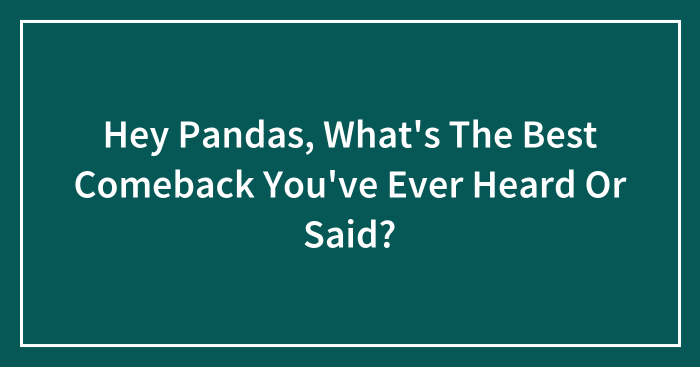 Hey Pandas, What's The Best Comeback You've Ever Heard Or Said? (Closed)