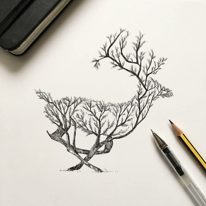 I Did A Series Of Animals As Trees, I Think This Is My Best One: