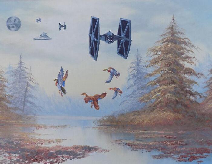 Artist Provides 'Star Wars' To Boring Thrift Retailer Work