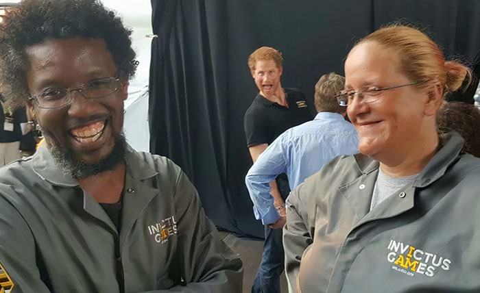 In Honor Of The Royal Wedding, I Present My Friend Derek Getting Photobombed By Prince Harry While Working The Invictus Games Last Year