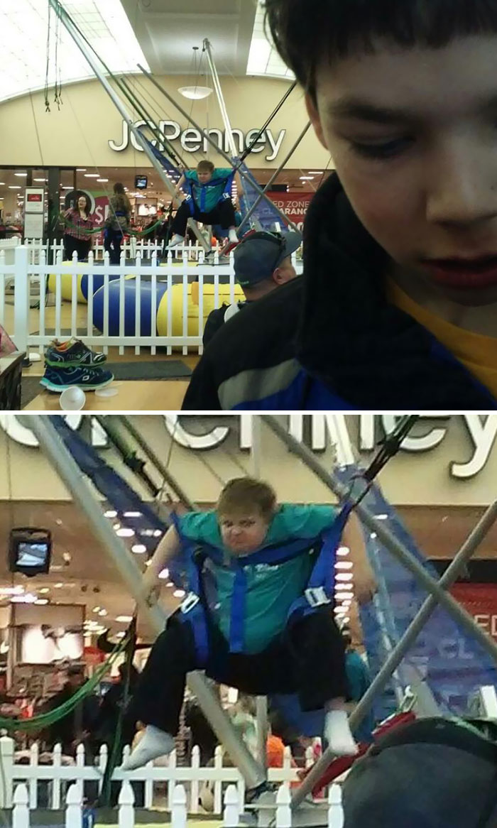 My Friend Took This Picture Of His Son At The Mall. Noted Kid In Background