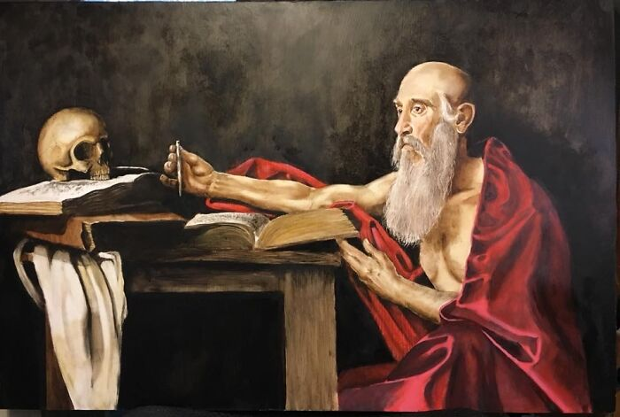 My Own Version Of Caravaggio's St. Jerome
