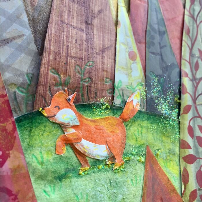 A Close Up Of A Woodland Collage I Did