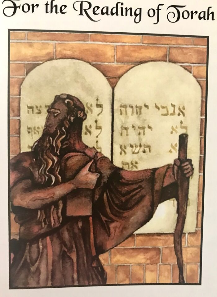 Watercolor Moses In Prayerbook (Why It's Not Straight) For Local Synagogue-Birmingam, Alabama