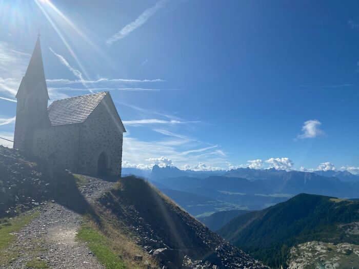 Church On A Mountaintop In The Alps