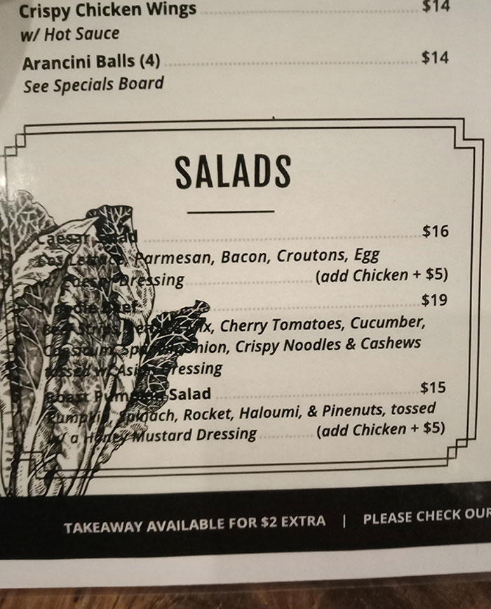 This Salad Section On The Menu At The Pub