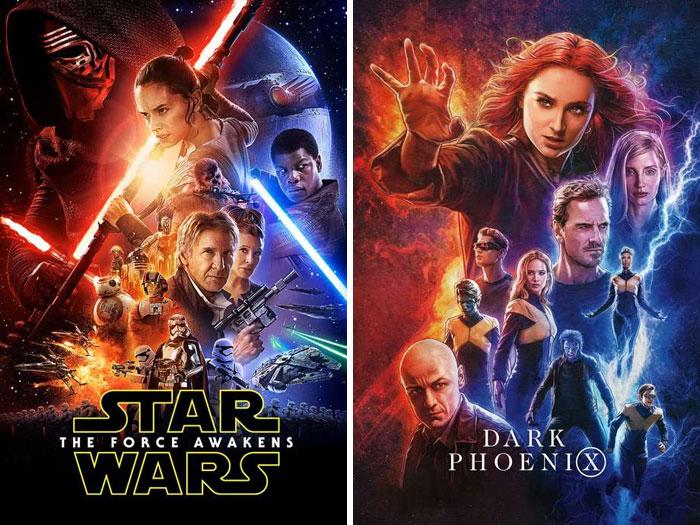 Star Wars: The Force Awakens (2015) vs. Dark Phoenix (2019)