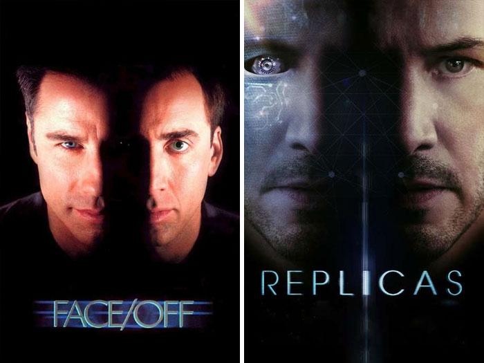 Face/Off (1997) vs. Replicas (2018)