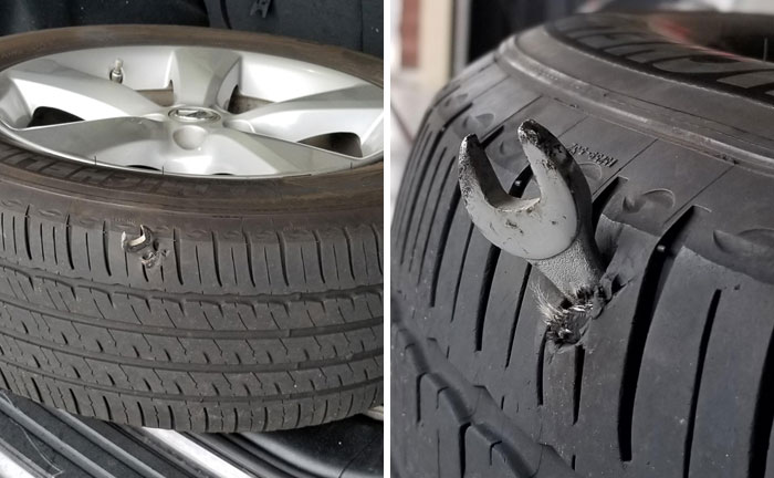 Este empleado de una tienda de neumáticos comparte 28 fotos de las locuras que ve en su trabajo