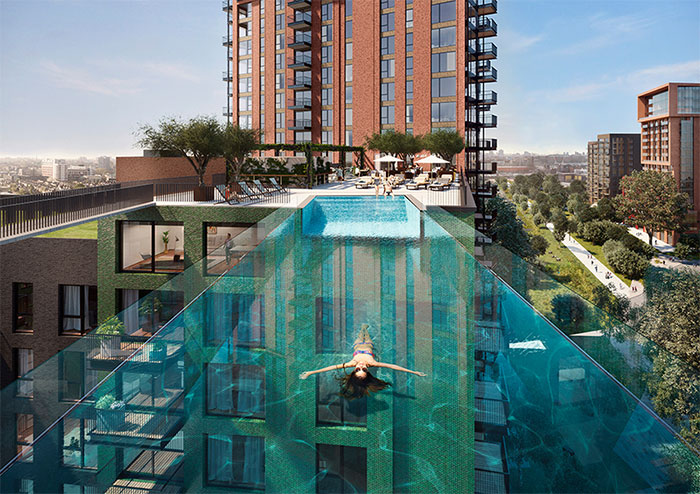 World's First Transparent 'Sky Pool' That Hangs 115 Feet Above London Nears Completion