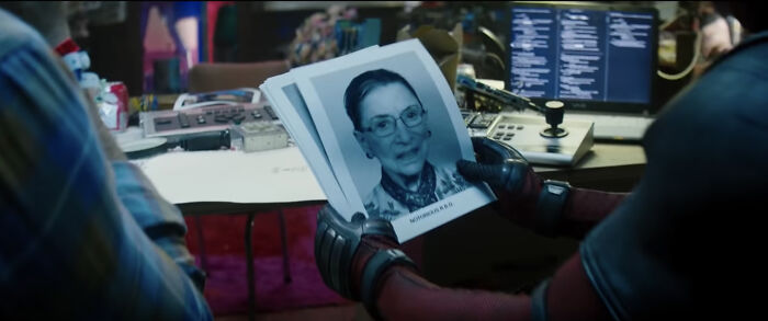 Watching Deadpool 2 (2018) And Noticed A Certain Supreme Court Justice's Headshot In The Squad Interview Scene. None Other Than Ruth Bader Ginsburg In Consideration For A Spot On X-Force