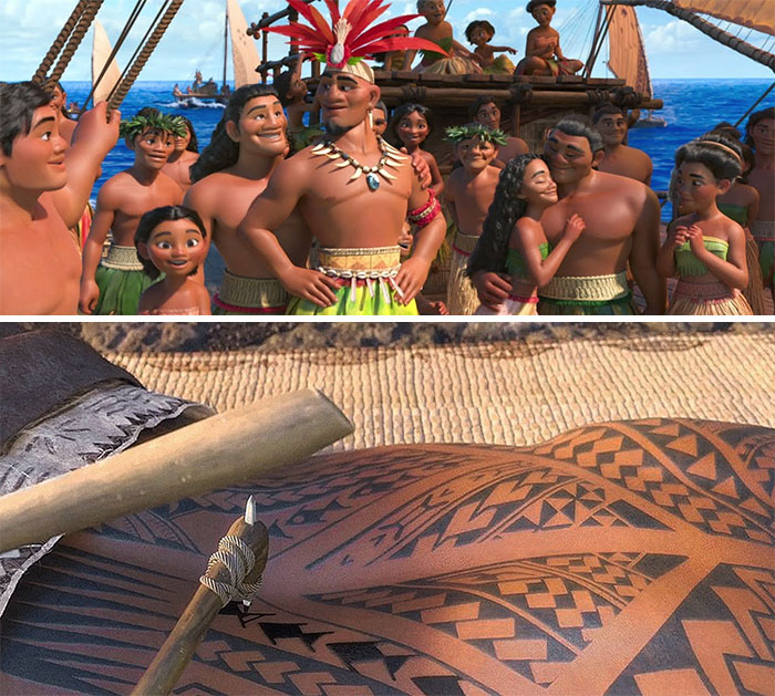 "In Moana (2016) During The Song ""We Know The Way"" None Of The People Have Tattoos. It's Not Until After They Find Their Island Home That We See Characters With Tattoos. This Is Because They Never Had The Resources To Figure Out A Tattoo Technique While They Were Traveling"