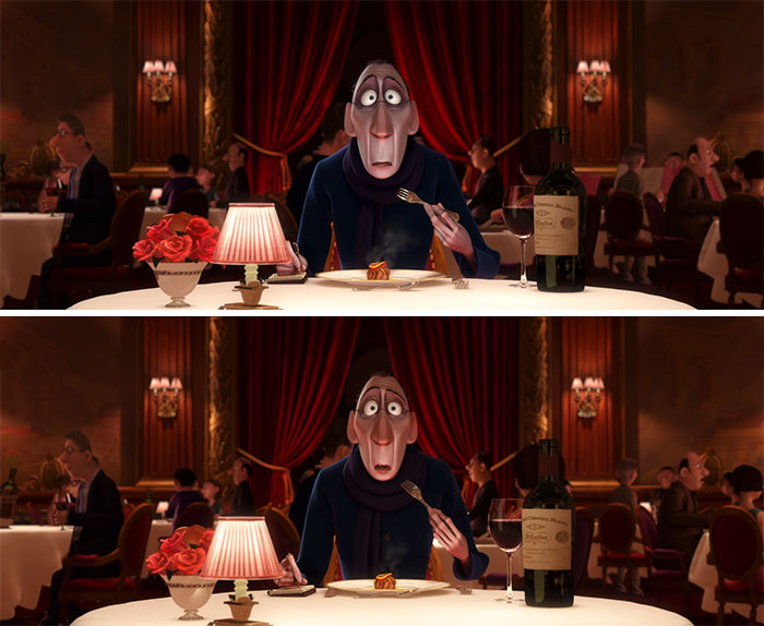 Anton Ego's Face Is Less Pale After He Eats The Ratatouille, Symbolising How His Emotions And Feelings About Food Have Changed