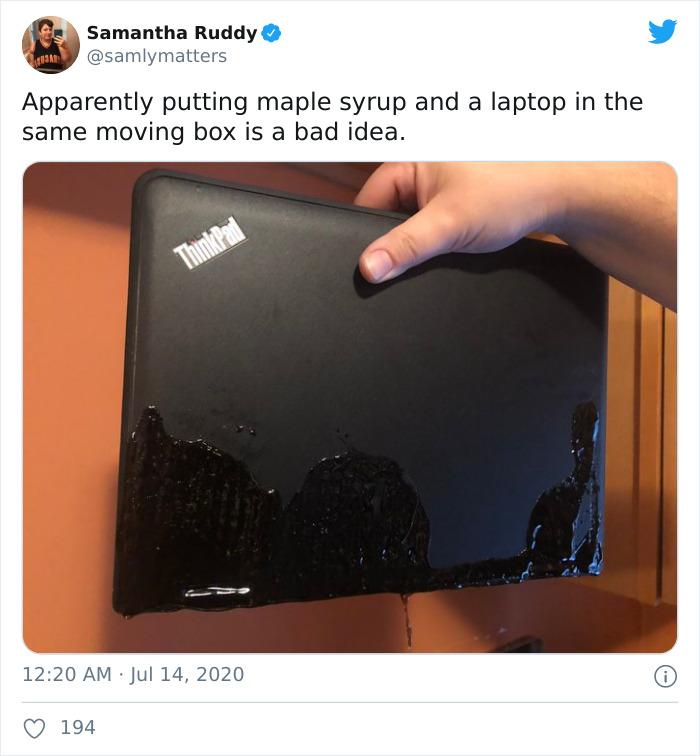 Parece que poner un portátil y sirope de arce en la misma caja de la mudanza fue una mala idea