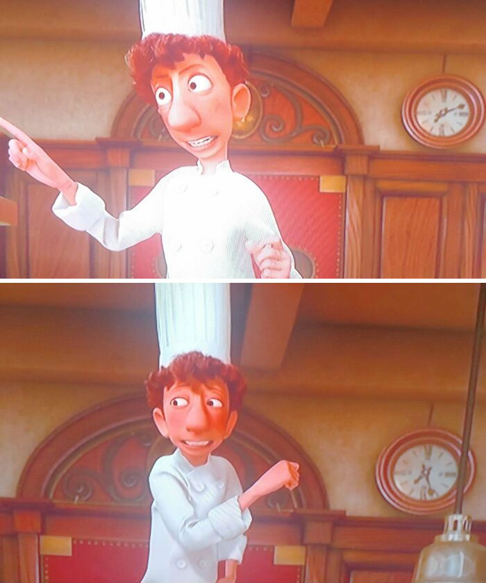 """Linguine Gives An """"Inspirational Speech"""" Before Food Critic, Anton Ego, Comes To Critique The Restaurant's Food. Pixar's Attention To Detail Shows The Staff Visibility Exhausted By This Speech. That's Because It Lasts Almost 20 Minutes During Dinner Service!"""