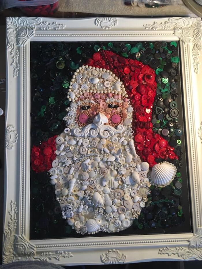 This Is A Santa Portrait I Created With Thrifted Frame And Buttons, Shells And Miscellaneous Smalls