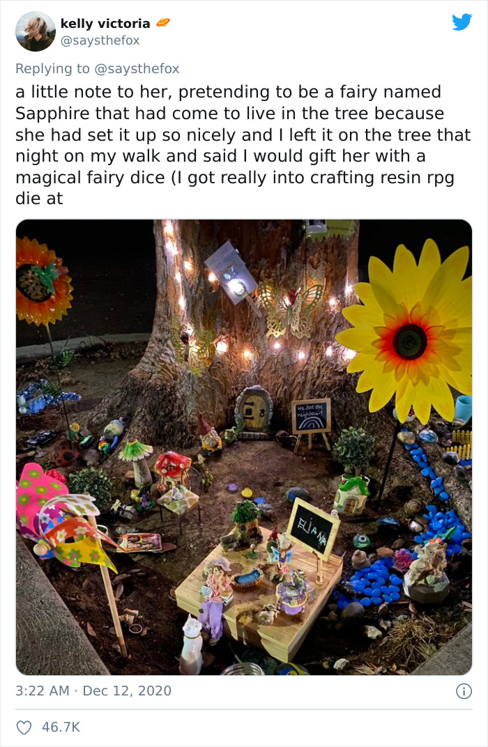4-Year-Old Feels Lonely In Quarantine, Sets Up A Fairy Garden, Her Neighbor Notices And Pretends To Be A Fairy Named Sapphire For 9 Months