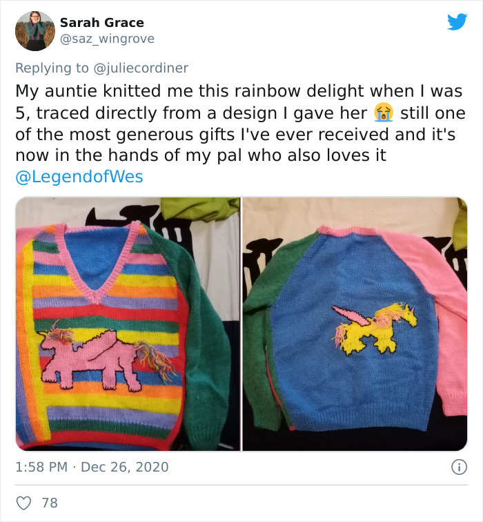 Grandma Surprises Granddaughter By Knitting Her A Christmas Sweater Based mostly On Her Drawing