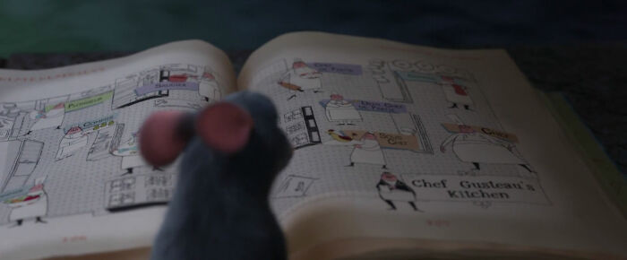 When Flipping Through The Cookbook In The Sewer, One Of The Pages Remy Flips Through Shows The Jobs Of Each Person In Gusteau's Kitchen, Revealing How Remy Knows This Later On