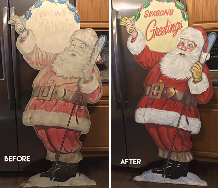 Rescued Last Year From A Facebook Seller. $22. It Was Faded And Neglected, But I Brought This Sweet Vintage Santa Back To His Jolly 'Ol Self With A Little Paint And A Lot Of Christmas Spirit