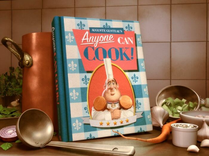 """You Can See Gusteau's First Name, Auguste, On The Cookbook """"Anyone Can Cook"""" Which Is An Anagram Of Gusteau"""
